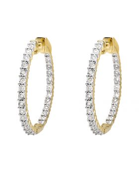 10K Yellow Gold Miracle Set One Row Inside-Out Diamond Hoop Earrings 0.50ct.