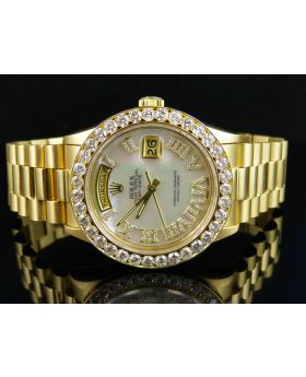 Rolex President 18k Yellow Gold Day-Date President White MOP Diamond Watch (6.0 Ct)