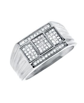 10K White Gold Cube Step Composite Diamond Ring Band 0.40ct.
