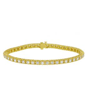 "Yellow Gold Tennis 12 Pointer Illusion Set Diamond Bracelet 8"" 5.4 Ct"