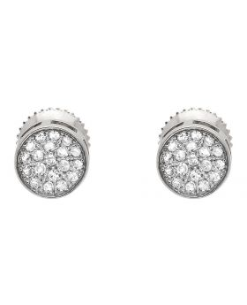 10K White Gold Round Disc Pave Cluster Genuine Diamond 6MM Stud Earrings 0.25ct