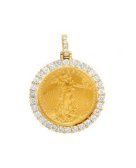 Unisex 10K Yellow Gold 1/4 oz Liberty Coin Diamond Pendant 1.40 ct 1.4""