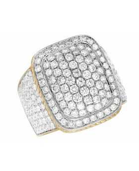10K Yellow Gold Real Diamond Pillow Puff Pinky Ring 4 ct