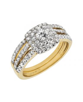 Bridal 14K Yellow Gold Halo Cluster Ring Set 1ct