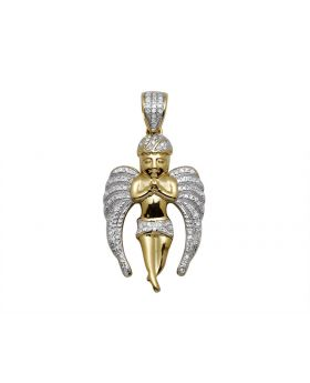 10K Yellow Gold Flying Angel Diamond Pendant Charm 0.3ct 1.2""