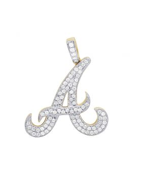 Mens 10K Yellow Gold Initial A Atlanta Braves Insignia Diamond Pendant 1.5 CT
