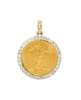 Unisex 10K Yellow Gold 1/2 oz Liberty Coin Diamond Pendant 2.5 ct 1.75""