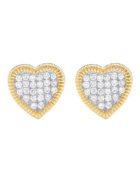 Real 10K Yellow Gold Diamond 3D Heart Cluster Stud Earring 0.75 Ct 10MM
