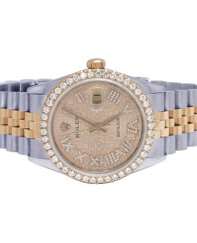 Rolex Datejust 18K/Steel 36MM Everose 16013 Diamond Watch 3.0 Ct