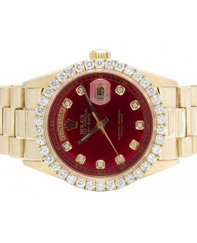 Rolex President 18K Yellow Gold Day-Date 36MM Red Dial Diamond Watch 4.0 Ct