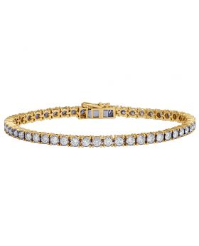 Ladies 10K Yellow Gold Real Diamond Tennis Bracelet 4 CT 7""