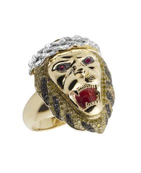 10K Yellow Gold Treated Canary Black Real Diamond Lion Pinky Ring 1.5ct