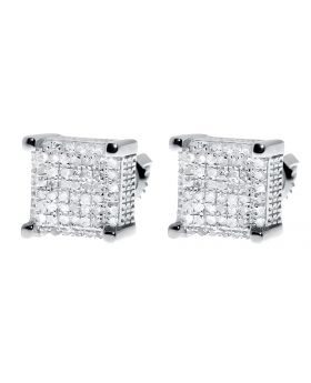 9mm Cube Earrings in White Gold Finish (0.50 ct)