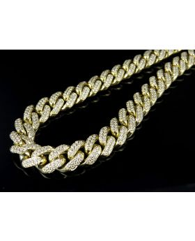 10K Yellow Gold Real Diamond Miami Cuban Link Chain 22.50ct 30""