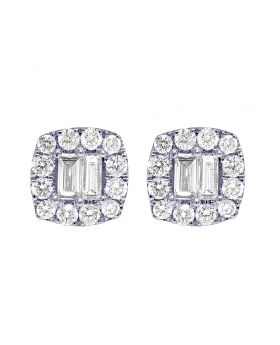 14K White Gold Baguette Halo Square Stud Earrings 1 CT