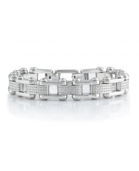 """Mens Semi Iced Out Genuine Diamond Steel Chain Link Bracelet BR5A by Arctica 8.25"""" 2.0Ct"""