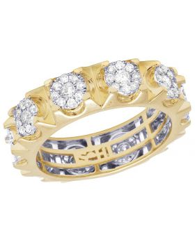 Men's 10K Yellow Gold Genuine Diamond Cluster Eternity Band Ring 1 3/8 CT 7MM