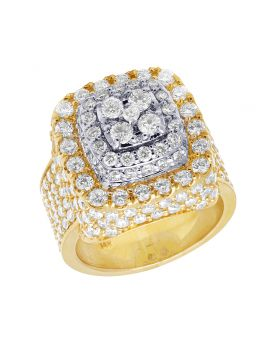 14K Yellow Gold Square Dome Diamond Pinky Ring 7.35 Ct 20MM
