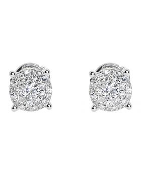 7mm Illusion Set Diamond Earrings in 14k White Gold (0.80 ct)