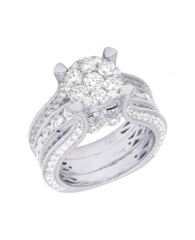 Ladies 14K White Gold Diamond Cluster Engagement Ring 4 CT 10MM