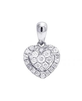 Ladies 14K White Gold Genuine Diamond Halo Heart Pendant 1/4 Ct 14MM