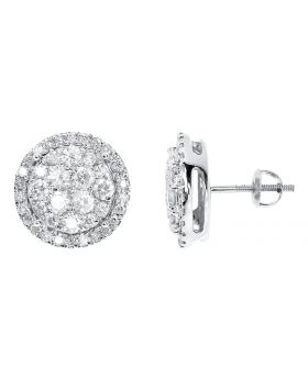 13mm Cluster Round Diamond Earrings in 14k White Gold (2.03 ct)