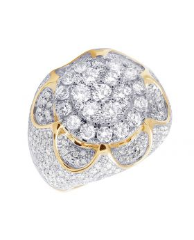 Men's 10K Yellow Gold Diamond 3D Cluster Engagement Ring 8.85 CT 24MM