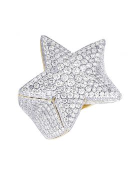 14K Yellow Gold 3D Real Diamond Super Star XL Statement Ring 6.52CT