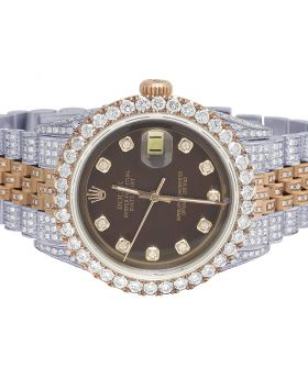 Rolex Datejust 18K/ Steel Everose 36MM Brown Dial Diamond Watch 12.5 Ct