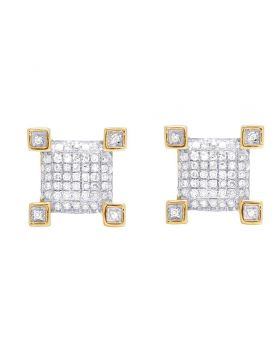 Unisex 10K Yellow Gold Diamond Square Stud Earring 0.20 Ct 9MM
