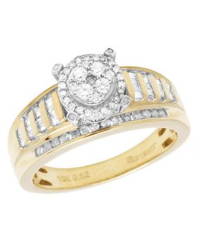 10K Yellow Gold Baguette Diamond Cluster Engagement Ring 50 Ct 7MM