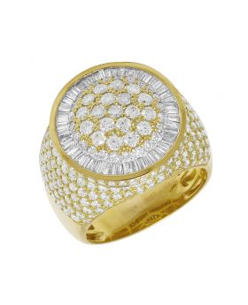 Mens Yellow Gold Baguette Diamond Dome Flower Cluster Pinky Ring 4.5CT