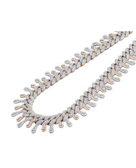 """Two Tone Rose White Gold Dripping Diamond  Cuban Chain 22mm 18"""" 33.5 CT"""