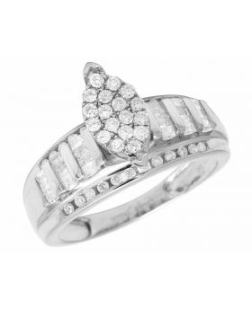 Ladies White Gold Finish Real Baguette Diamond Marquise Engagement Ring 0.50ct