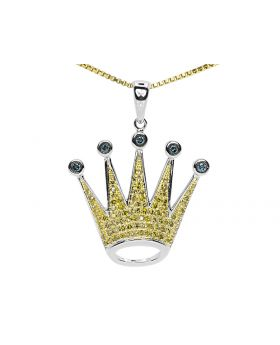 10k White Gold Crown Pendant With Blue and Yellow Diamonds (0.38 ct)