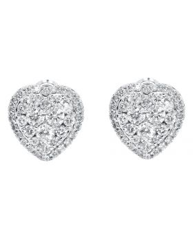 Heart Earrings with Round Diamonds in 14k White Gold (2.46 ct)