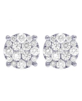 10K White Gold Real Diamond Round Cluster Studs Earrings 11MM 2.10 CT