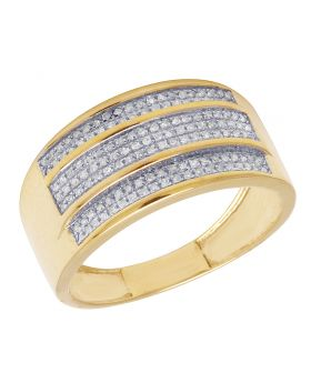 10K Yellow Gold Men's 3 Row Pave Real Diamond 11mm Ring Band 0.5 CT