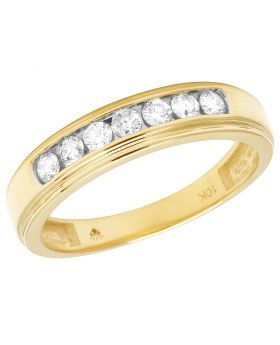 10K Yellow Gold Mens Channel set Diamond Ring 0.50 CT 5MM