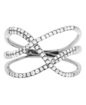 10K White Gold Tangled Rows Pave Diamond Cocktail Ring 0.33CT