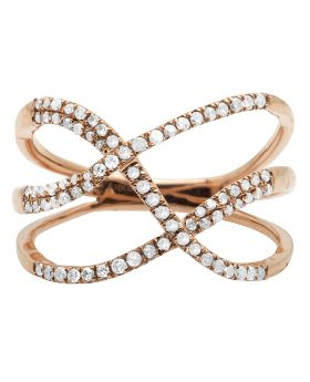 10K Rose Gold Tangled Rows Pave Diamond Cocktail Ring 0.33CT