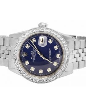 Rolex Datejust 36MM Oyster Perpetual Blue Dial Diamond Watch 2.5 Ct