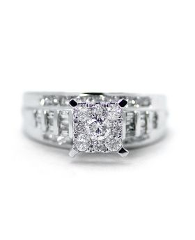 Round Cut Diamond Engagement Ring in 10K White Gold (1.03 Ct)