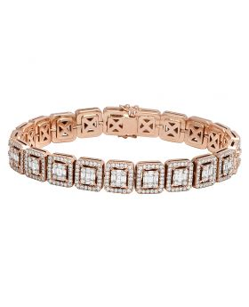 Mens 10K Rose Gold Square Baguette Real Diamond Statement Designer Bracelet 8.5CT