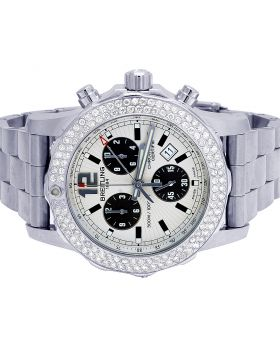 Custom Breitling Colt II A7338710-BB49-SS Chronograph Diamond Watch 3.0 Ct