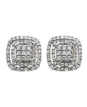 14K Yellow Gold 11MM Double Square Halo Round Diamond Stud Earrings 1/2CT