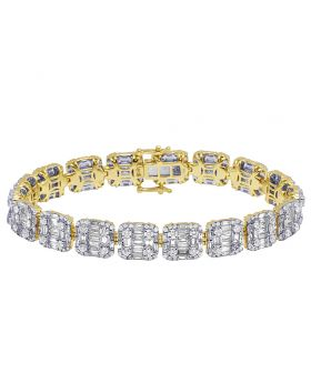 14K Yellow Gold Real Diamond Baguette Bracelet 10.95 CT 10MM 7.75""