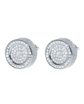 10mm Round Pave 3D Earrings (0.60 ct)