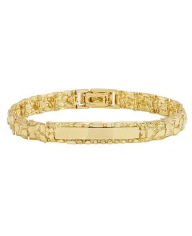 10K Yellow Gold Men's Nugget ID Bracelet 10MM 8""
