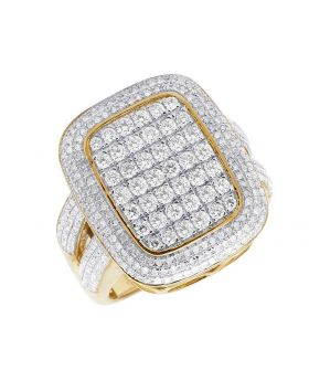 Men's 10K Yellow Gold Diamond 3D Square Cluster Ring 2.33 Ct 23MM